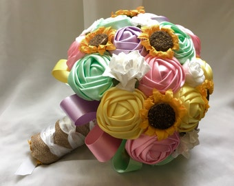 Paper ribbon bouquet Spring Pastel Hession Wedding Flowers