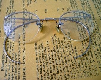 Vintage John Dillinger Style Eyeglasses Gold Filled Half Frame Victorian or Edwardian Re-enactment Steampunk