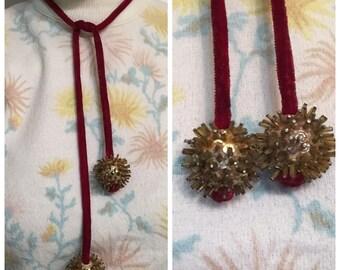 Vintage Velvet bow with Sequin tassels