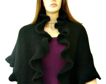 ON SALE Black Mohair Ruffle Shawl, Scarf, Three Sides Ruffled Cute Shawl, Kate Middleton Style, Handknit, Express Delivery