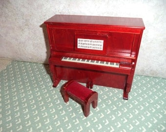 1:12 scale Dollhouse Miniature Mahagony Piano w/ stool