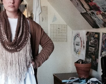 Iced Coffee Fringed Cowl