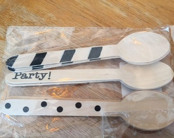 16 pc Wooden Spoons, Ice Cream Spoons, Party Spoons, Eco Friendly, Wooden Utensils, Birthday, Wedding