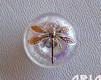 CZECH GLASS BUTTON: 18mm Handpainted Dragonfly Czech Glass Button, Pendant, Cabochon (1)