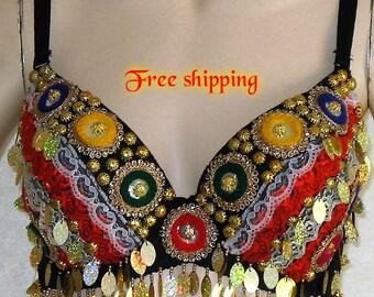 Belly dance bra, Gypsy bra, Tribal fusion bra, Belly dance, Gypsy belly dance, Gypsy wear, Gypsy clothing, Sequin bra, Lace bra, Coin bra