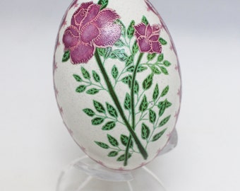 PysankyPink Roses on Goose Egg, Ukrainian Easter Egg Dyed not Painted