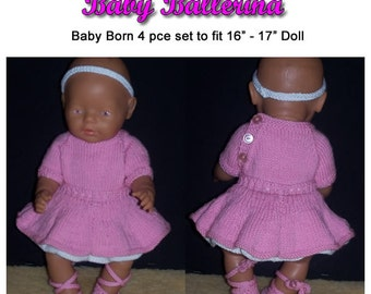 Baby Born Knitting Pattern Ballerina fits 16 to 17 inch dolls (pattern only)