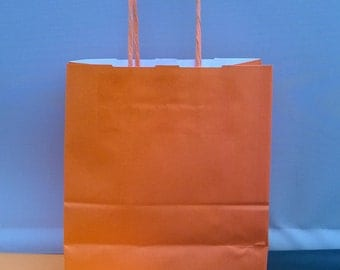 Orange paper twisted handeled party bags x 10 with 20 sheets tissue paper