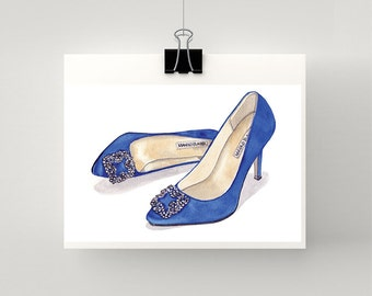 LARGE print of Manolo Blahnik Something Blue Satin Pump