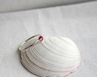 4mm Rose Cut Rhodalite Garnet Ring, January Birthstone Ring, Gemstone Stacking Ring