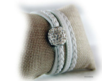 Womens wrap leather bracelet braided white silver - rhinestones glittering magnetic clasp - gift for her best friend girlfriend wife mother