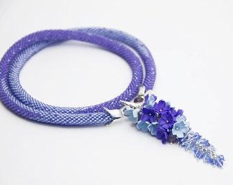Bead Crochet necklace  blue color, long jewelry,  Beadwork Flower Garden Polymer clay Bead Crochet necklace