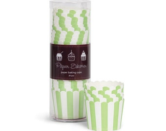 Apple Green Striped Baking Cups (25 Count)