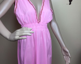 Pink Nightgown, 1970s Hot Pink Nightie, Vintage Lingerie