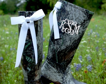 Monogram Rain Boots with Bows Camo Rain Boots with by GoslingBoots