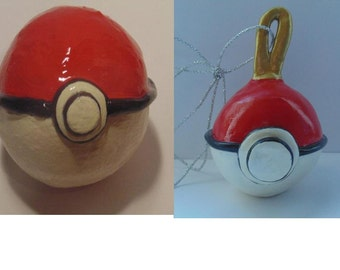 Handmade Polymer Clay Pokeball, Pokeball Ornament, Pokemon, Red, White, Black, Custom Pokeball