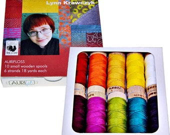 AURIFIL Aurifloss 10 Small Spools 18 yds, 6 strand Embroidery Floss Inked Collection Thread