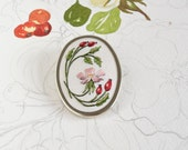 Hand Embroidered Dog Rose and Rosehips Brooch