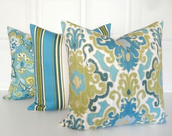 Blue and Green Pillow Covers - Set of Three - Striped, Paisley & Ikat -  Decorative Pillows - Throw Pillow - Couch Pillows - Toss Pillow