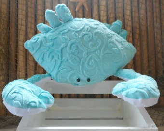 Minky crab pillow, nautical decor, bed pillows, coastal living, home decor, beach pillows, childs toy crab,decorative cushions