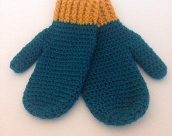 Crochet mittens (teal & yellow)