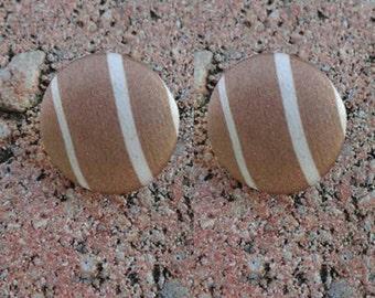 Brown & Beige Stripes Stud Button Earrings