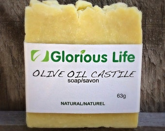 Natural Olive Oil Castile Soap (unscented) - 1 bar (2.2 oz./63g) - Glorious Life