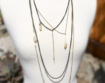 4 Layer Chain Necklace Bohemian Jewelry Body Chain Long Layered Necklace