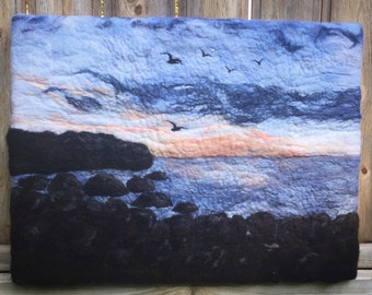 """Large Felted Wool Painting, """"Salty Air Morning"""", One of a Kind"""