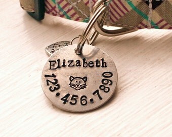 """1"""" Aluminum Circle Pet ID Tag, Dog ID Tag, Hand Stamped Cat ID Tag, Handmade Pet Accessories, 1 inch Round Pet Tag, Arrows Anchor Pawprint"""