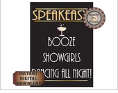 Speakeasy Sign Prohibition Era Booze Showgirls Dancing Printable File 1920s Black Gold Art Deco Wedding Party Decor 8.5X11 Digital File
