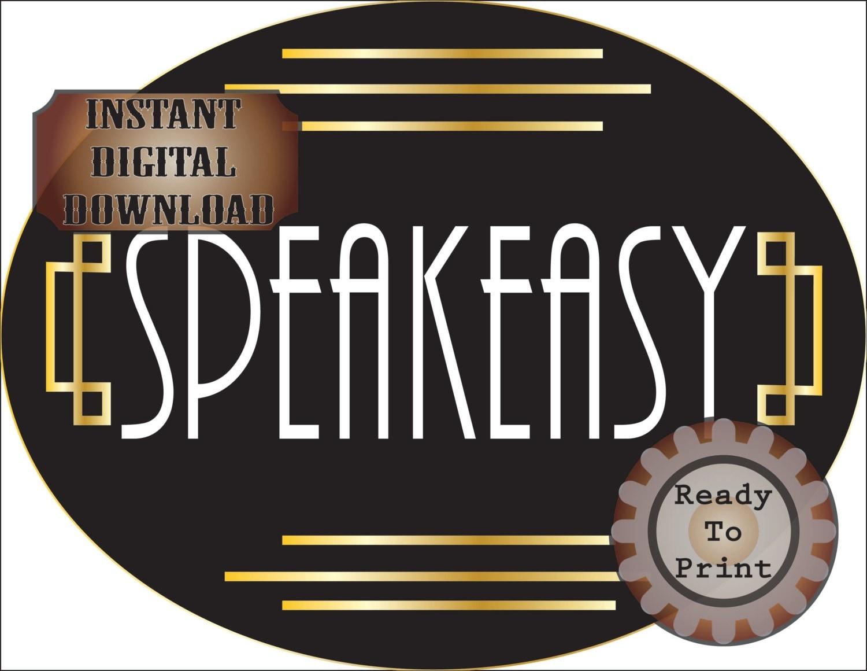 large speakeasy sign roaring 20s prohibition era art deco
