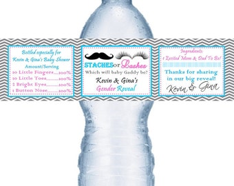 21 Team Staches or Lashes Gender Reveal Baby Shower Personalized Water Bottle Labels