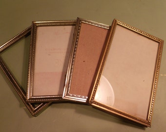 7 Gold Metal Picture Frames with Glass