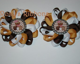 S'mores set of flower clips, cookies, S'mores hair accessories