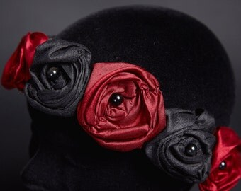 Crown Headband Red Black Silk Roses Reine de Coeur Obsidian Beads