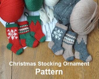 Nordic Snowflake Christmas Stocking Ornament Knitting Pattern Set of 3 Designs