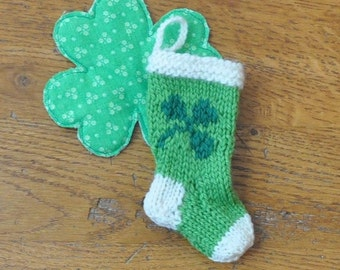 St Patricks Day Shamrock Hand-Knit Christmas Stocking Ornament - Luck of the Irish - Clover