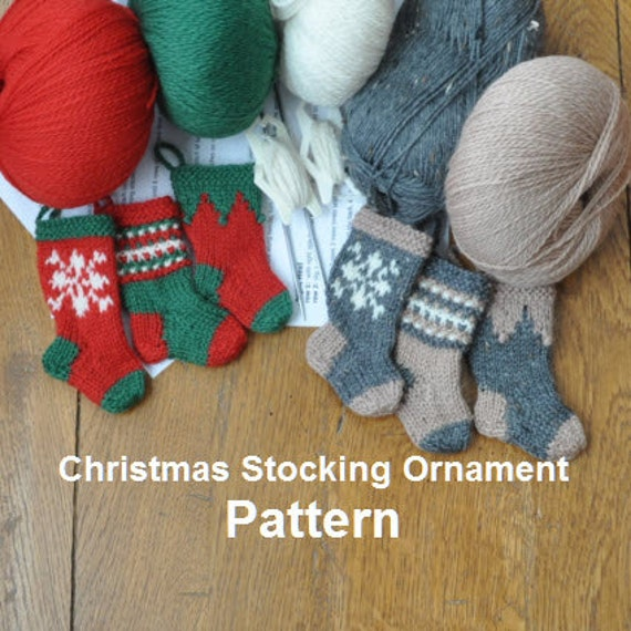 Nordic Snowflake Christmas Stocking Ornament Knitting Pattern