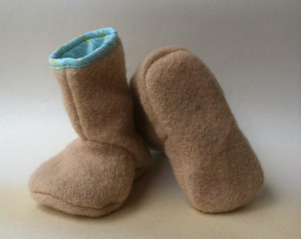 baby booties pure wool Juniper boots in natural ecru and teal 12-18 months