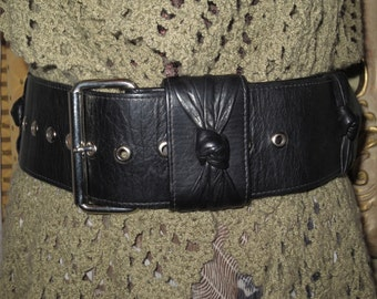 Womens Vintage Stunning Black Leather Wide Belt , Pleated Leather Knot Appliques