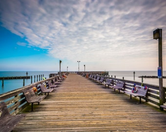 Long exposure taken on the pier in Chesapeake Beach, Maryland.   Photo Print, Stretched Canvas, or Metal Print.