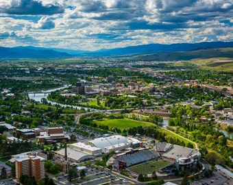 View of Missoula from Mount Sentinel, in Missoula, Montana. | Photo Print, Stretched Canvas, or Metal Print.
