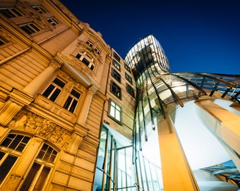 The Dancing House at night, in Prague, Czech Republic - Photography Fine Art Print or Wrapped Canvas