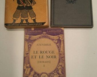 Vintage French books, french language books, french language stufy