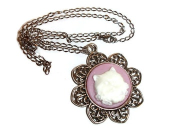 Kitty Cameo Necklace Cat Necklace Kitty Necklace Victorian Cat Necklace Stainless Steel Chain Floral Cat Necklace cat cream lilac pink cats