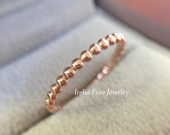 14k Rose Gold 2mm Wide Solid Beaded Wedding Band Womens Ring Warranty Included