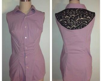 Purple Sleeveless Collar Shirt