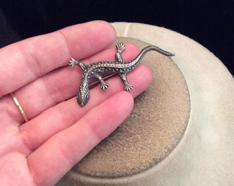 Vintage Sterling Silver Lizard Pin
