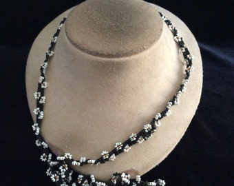 Vintage Long White & Black Glass Beaded Floral Necklace